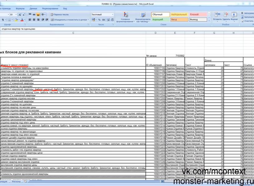 Правильный алгоритм подбора ключевых фраз для вашей кампании, часть 2 - Минус-слова в Excel